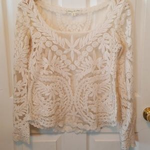 Starting at Stars floral embroidered sheer top